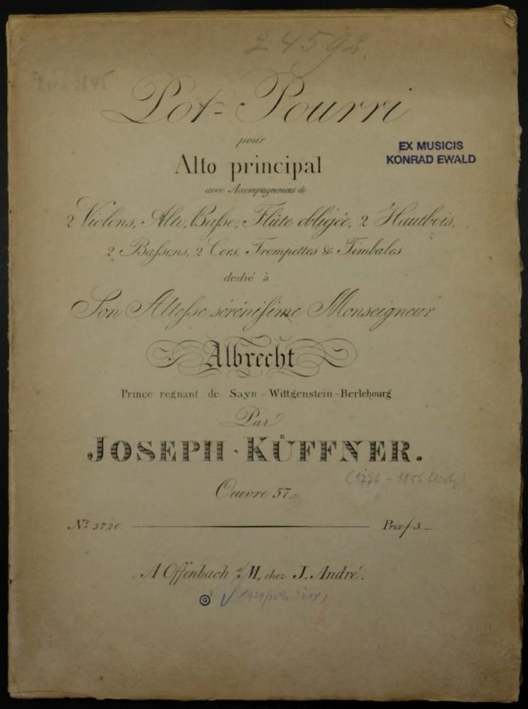 Pot-Pourri D-dur, op. 57, für Bratsche und Orchester, für Bratsche und Klavier