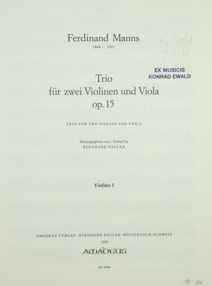 Trio, op. 15, for 2 Violins and Viola