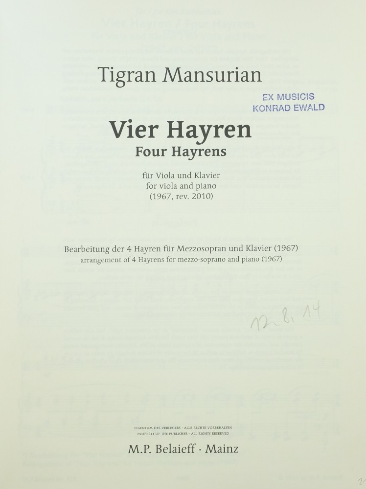 Vier Hayren, for Viola and Piano