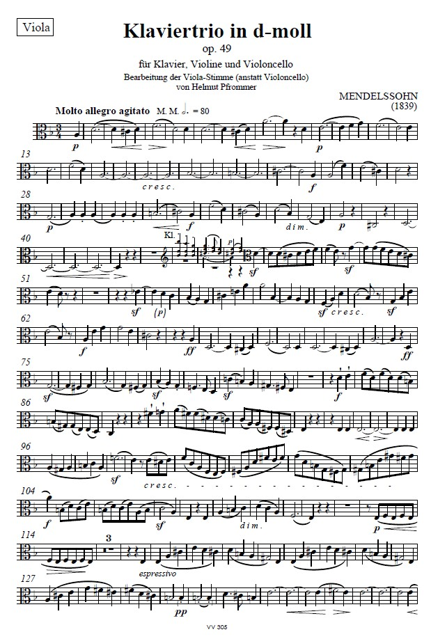 Klaviertrio d-moll, op. 49, Einzelstimme Bratsche (anstatt Violoncello)