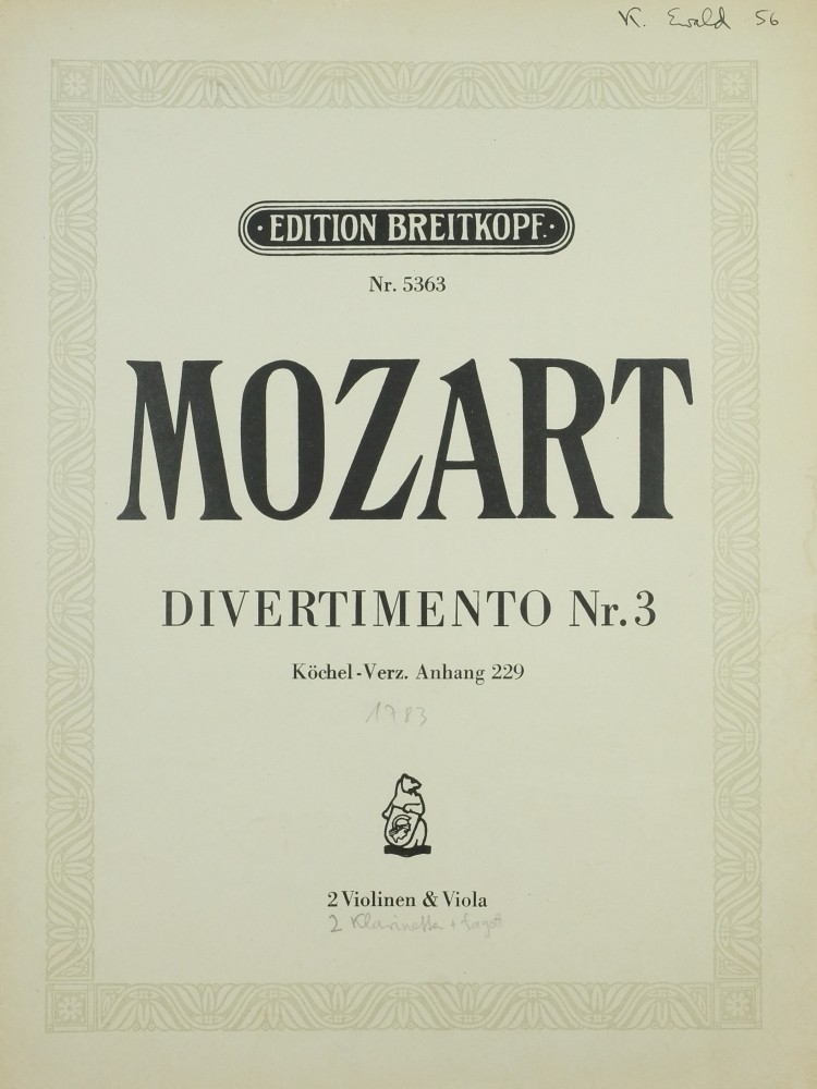 Divertimento (orig. 2 Bassetthorn & Fagott) C-dur, KV Anh. 229, arrangiert für 2 Violinen und Bratsche