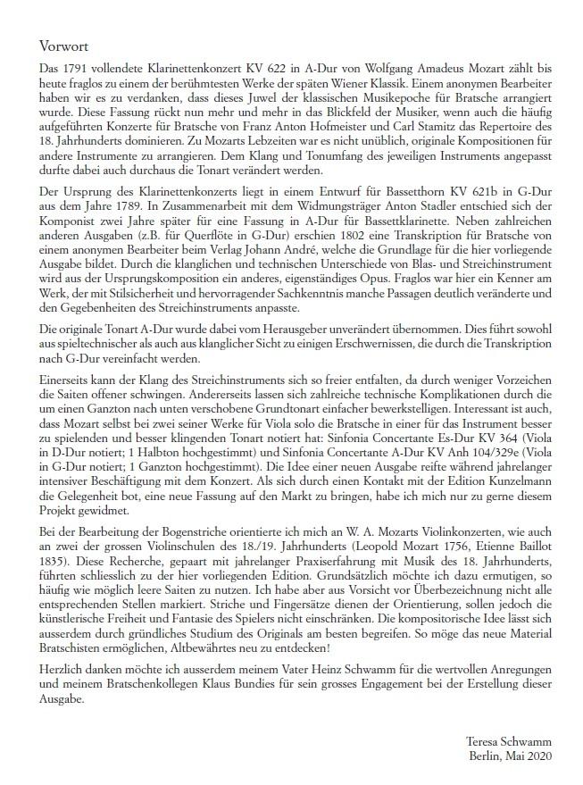 Violakonzert G-Dur nach dem Klarinettenkonzert, KV 622, für Bratsche und Orchester