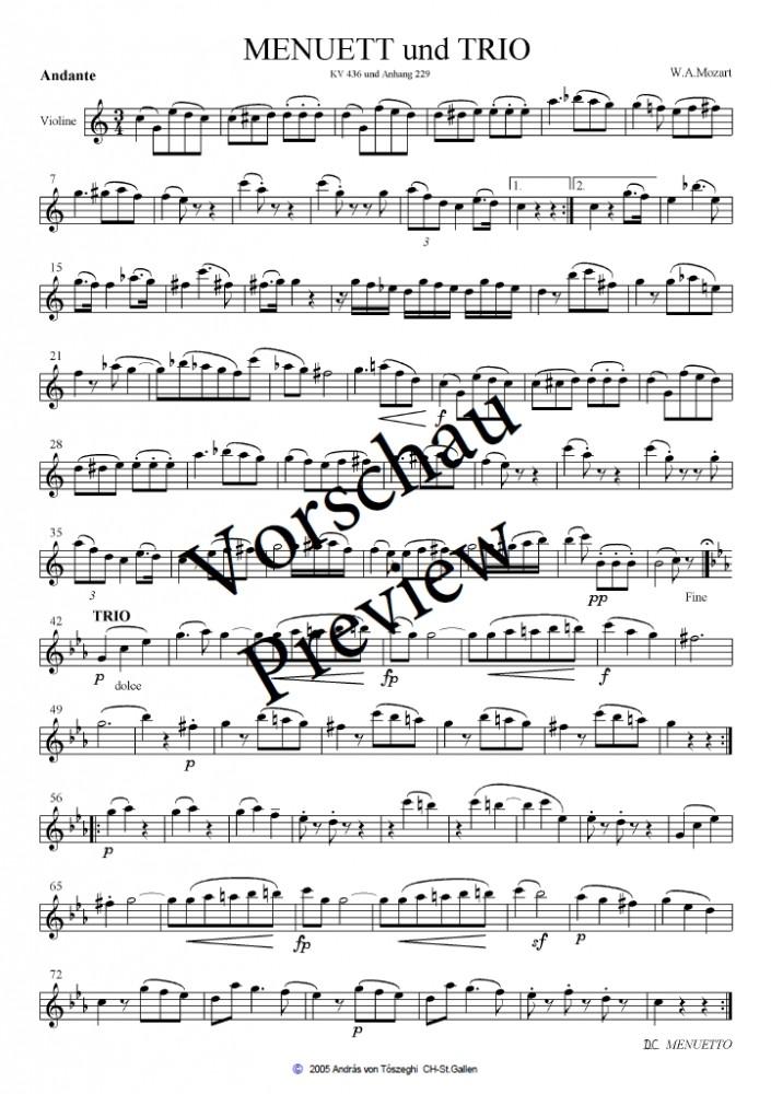 Menuett und Trio, KV 436, arrangiert für Violine, Bratsche (2. Violine) und Violoncello