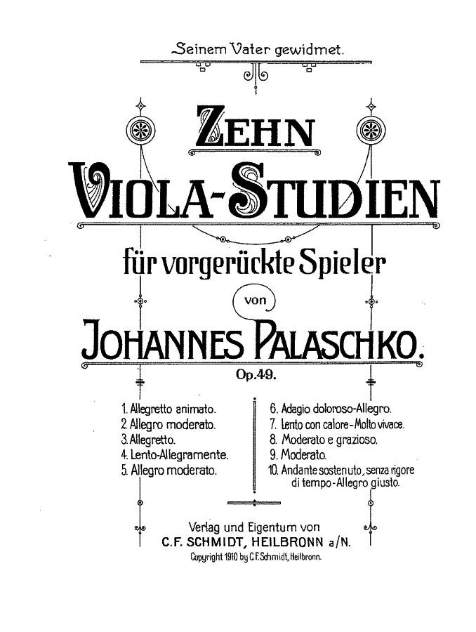 10 Bratschen-Studien, op. 49, für Bratsche