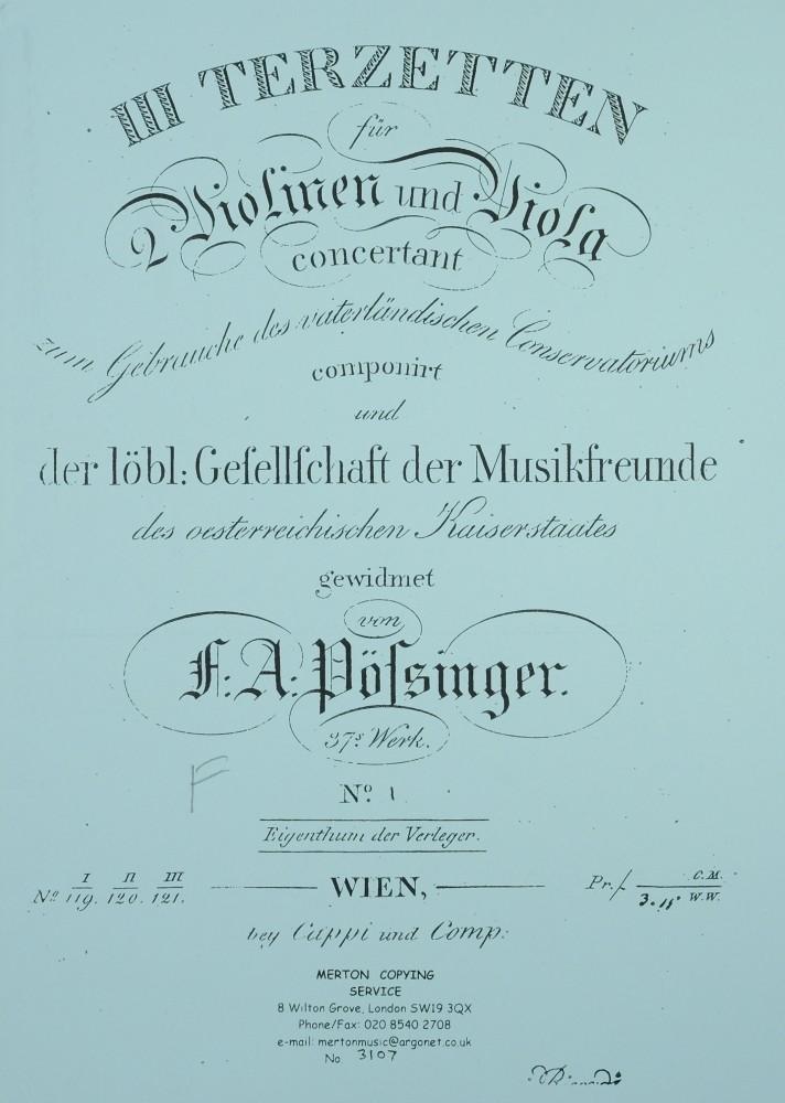 3 Terzette (F/G/a), op. 37, für 2 Violinen und Bratsche