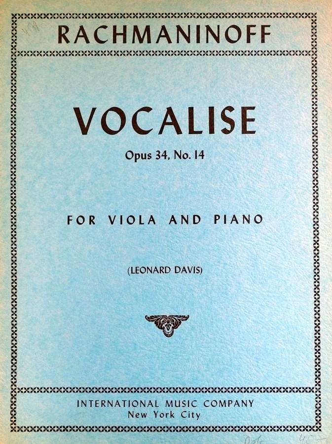 Vocalise e-moll, op. 34, Nr. 14, für Bratsche und Klavier