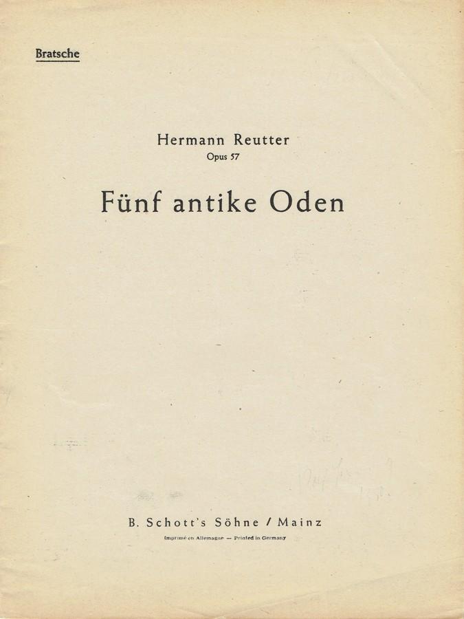 5 antike Oden, op. 57, für Alt, Bratsche und Klavier