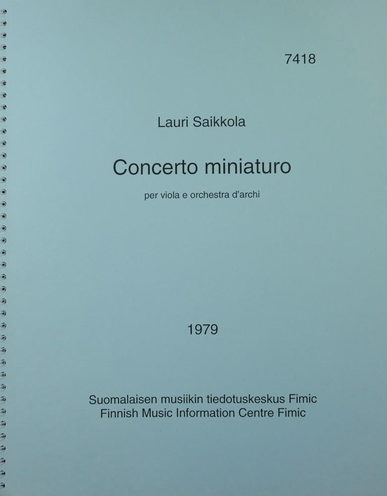 Concerto miniaturo, für Bratsche und Streicher