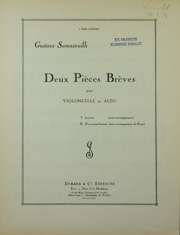 2 Pièces brèves, für Bratsche und Klavier