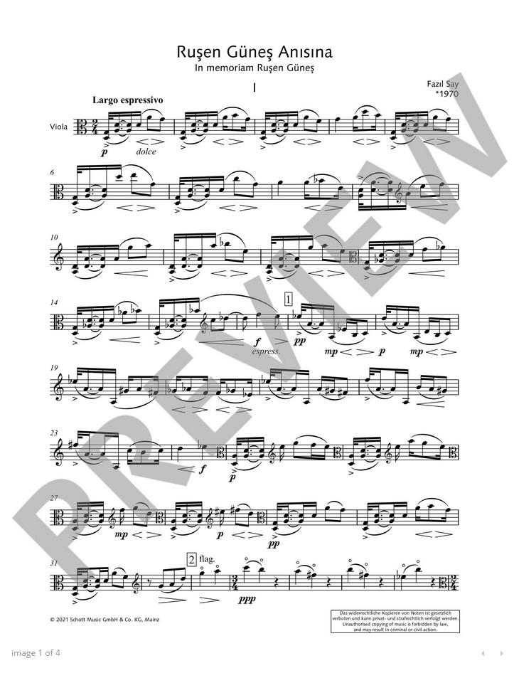 Rusen Günes Anisina, op. 92, Sonate für Bratsche solo