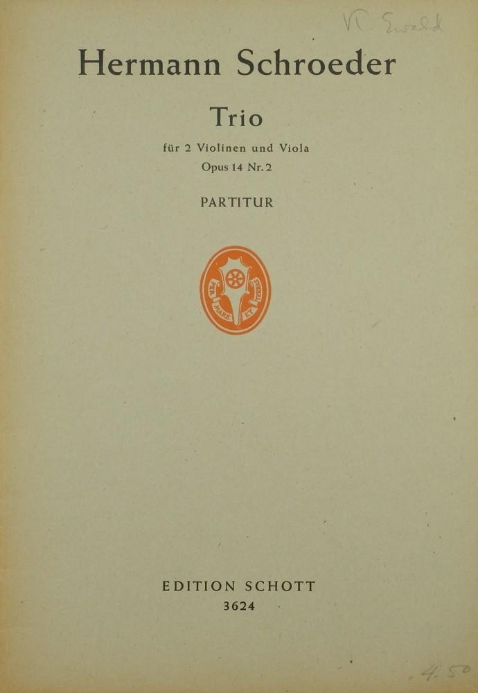 Trio g-moll, op. 14, Nr. 2, für 2 Violinen und Bratsche