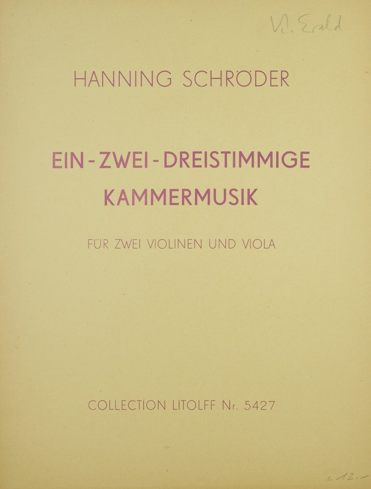 Ein- Zwei- Dreistimmige Kammermusik, für 2 Violinen und Bratsche