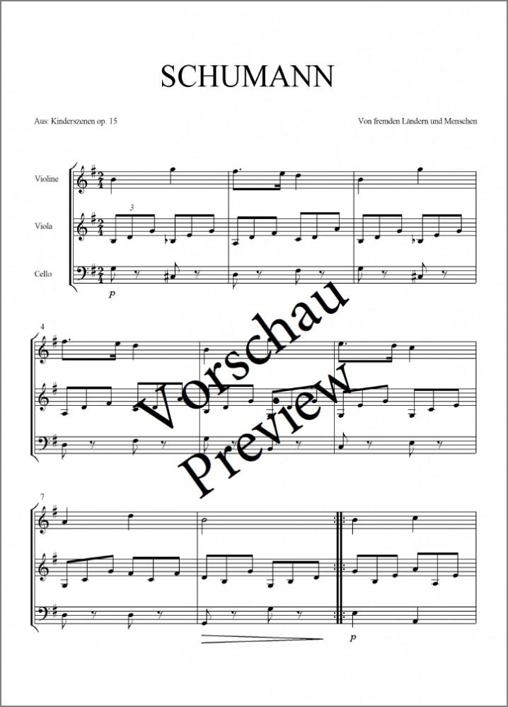 2 Kinderstücke, arrangiert für Violine, Bratsche und Violoncello