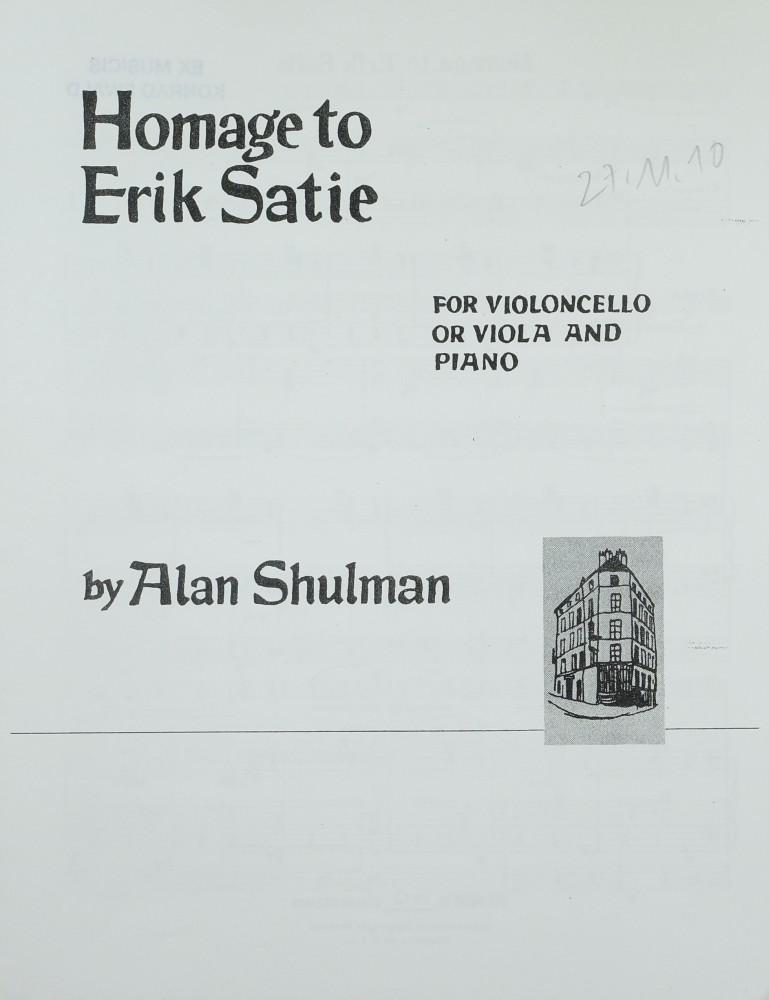 Homage to Erik Satie, für Bratsche und Klavier