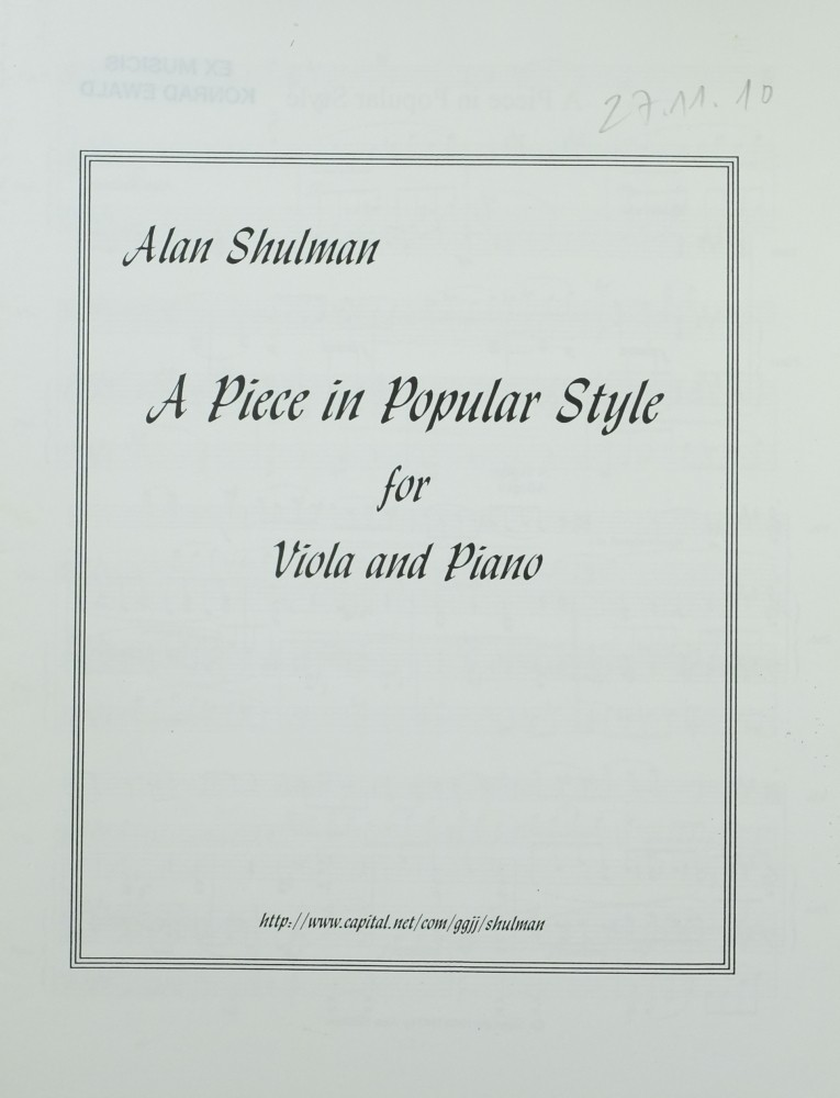 A Piece in Popular Style, für Bratsche und Klavier