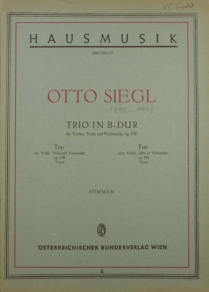 Trio B-dur, op. 130, für Violine, Bratsche und Violoncello