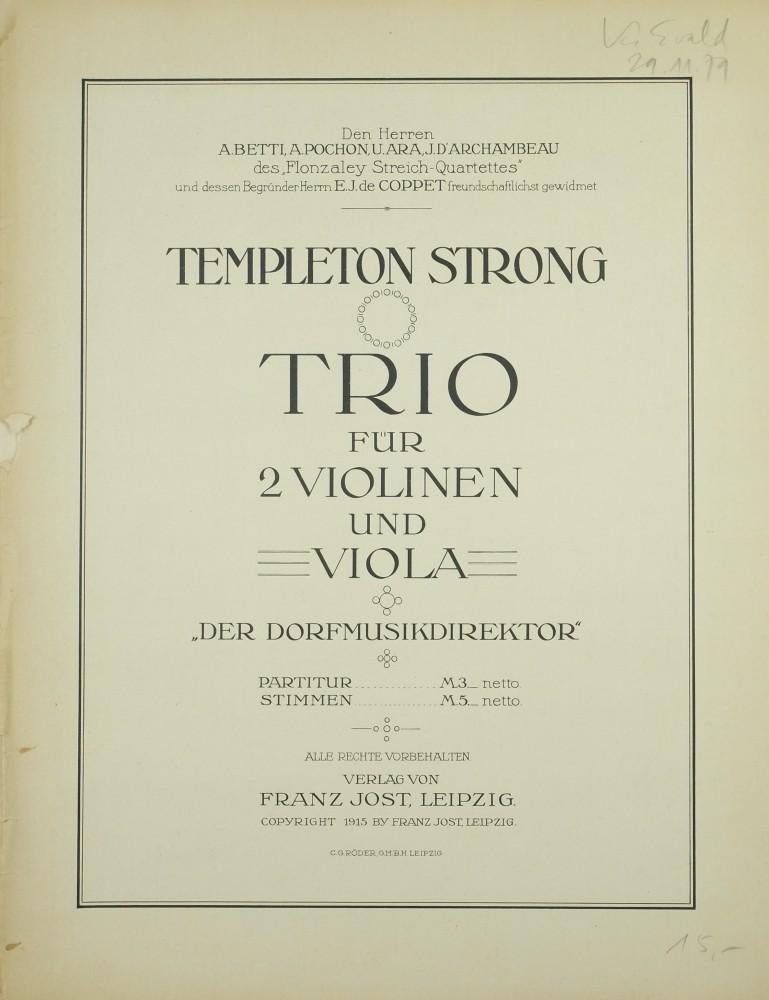 Trio «Der Dorfmusikdirektor», für 2 Violinen und Bratsche