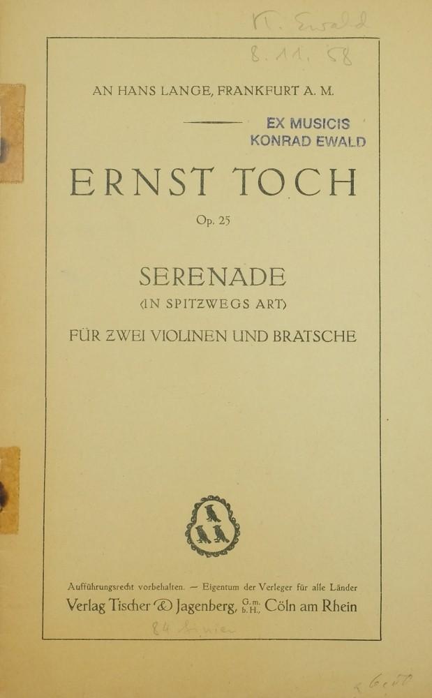 Serenade in Spitzwegs Art, G-dur, op. 25, für 2 Violinen und Bratsche