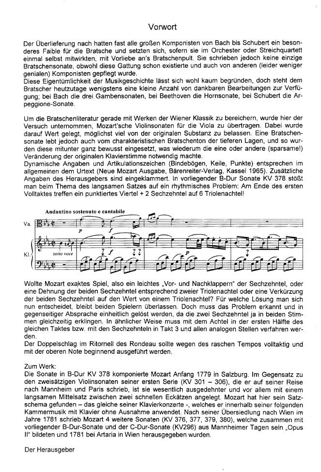 Sonate B-dur, KV 378, für Violine und Klavier, arrangiert für Bratsche und Klavier
