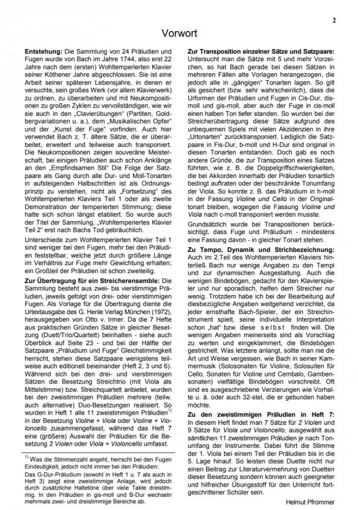 Das Wohltemp. Kl. II, Heft 7, Zweistimmige Präludien, für 2 Bratschen (7) oder für Bratsche und Violoncello (9)