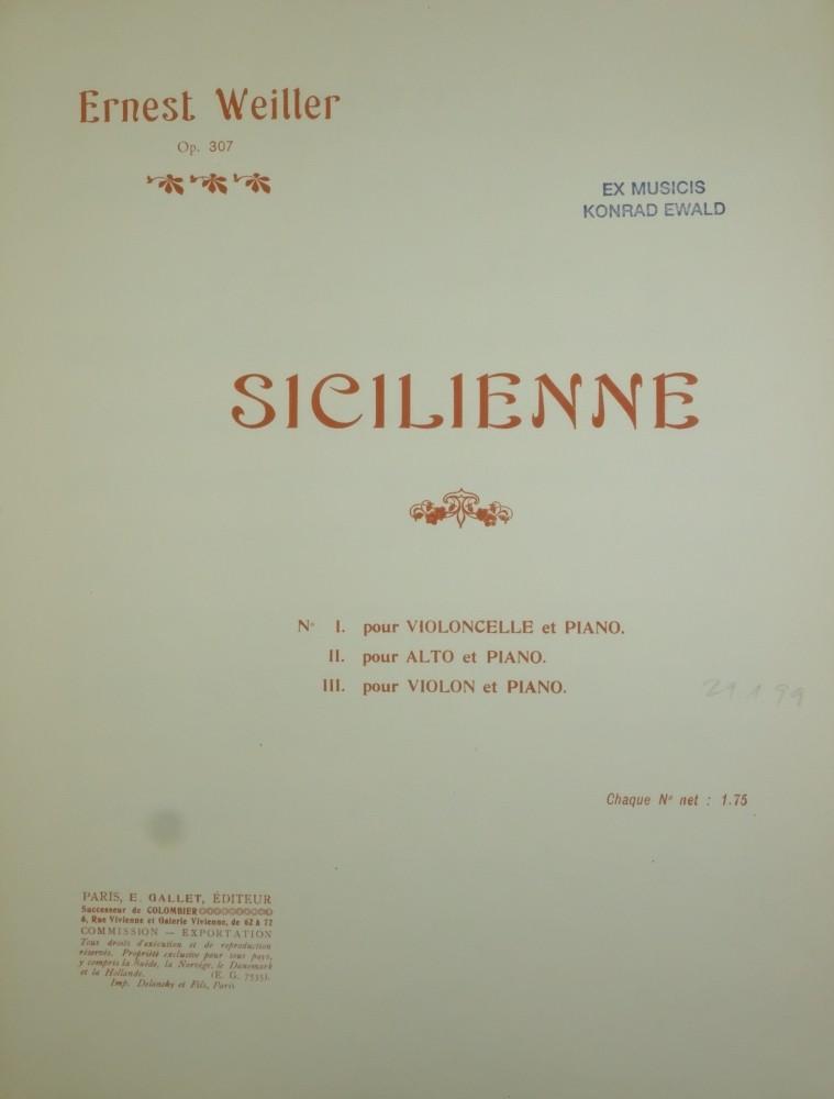 Sicilienne e-moll, op. 307, für Bratsche und Klavier