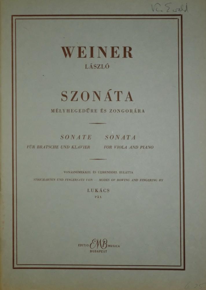 Sonate für Bratsche und Klavier, 1939(?)