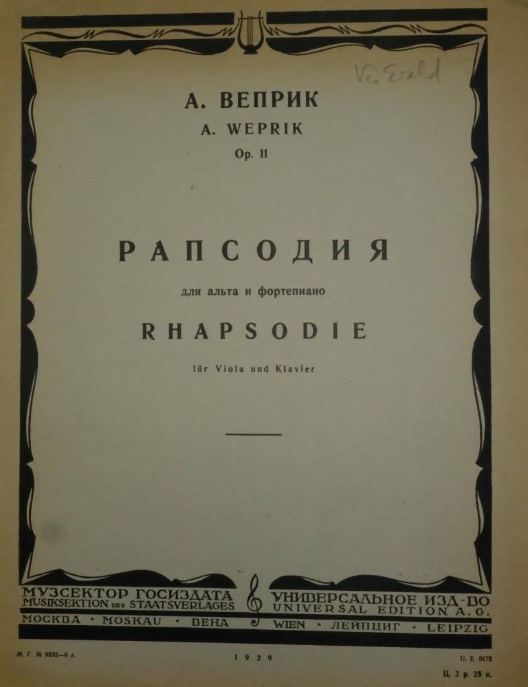 Rhapsodie, op. 11, für Bratsche und Klavier