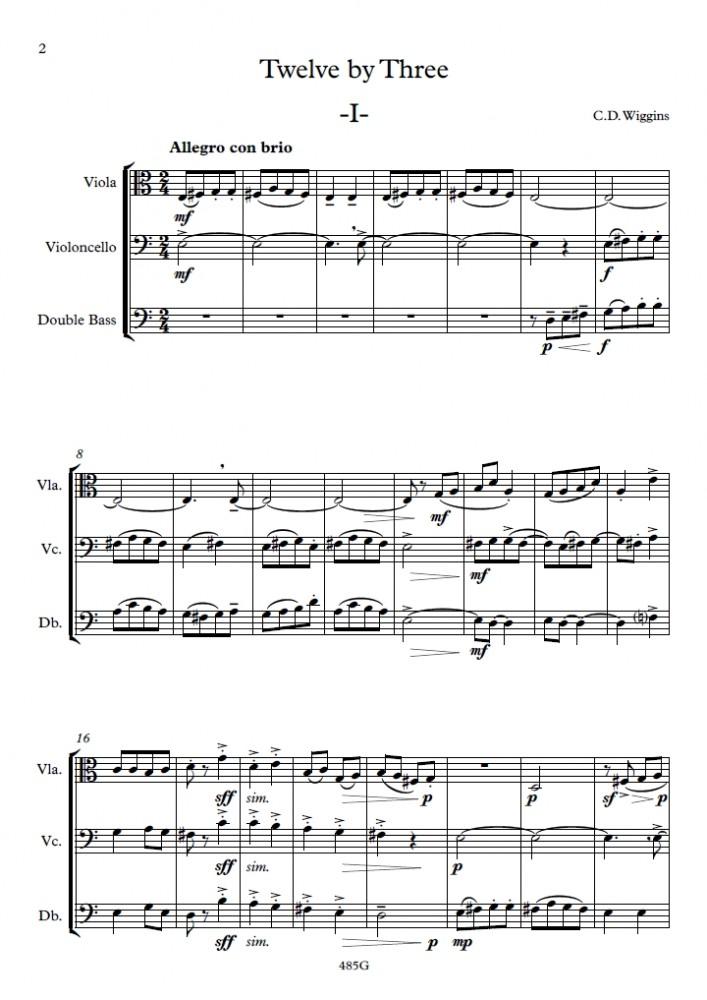 Twelve By Three, op. 108, für Bratsche, Violoncello und Double Bass