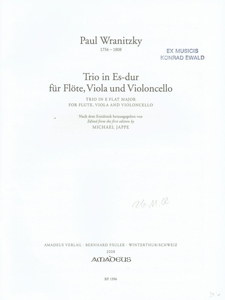 Trio Es-dur, für Flöte, Bratsche und Violoncello